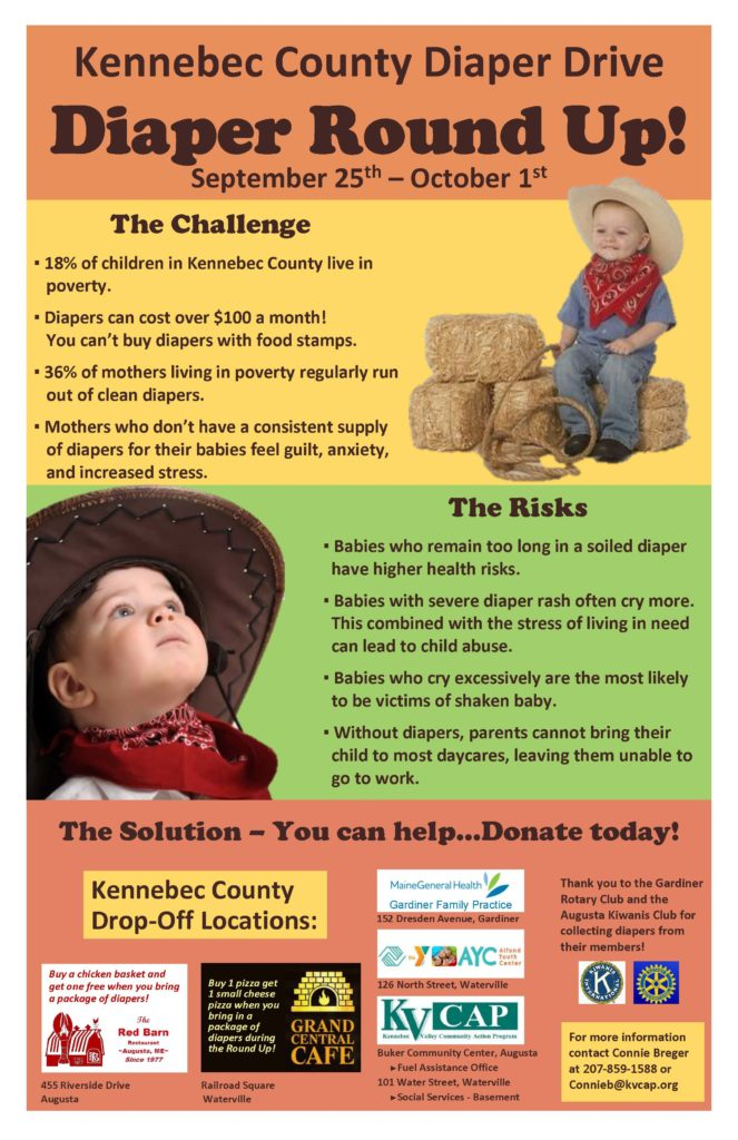 kennebec county diaper drive: diaper round up poster