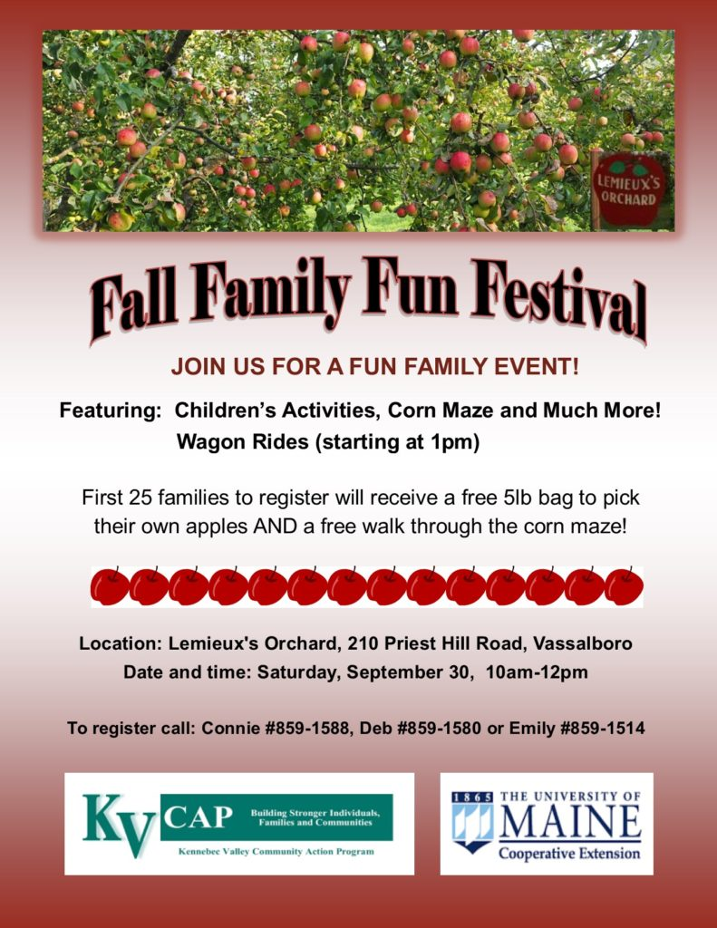 fall family fun festival in vassalboro flyer