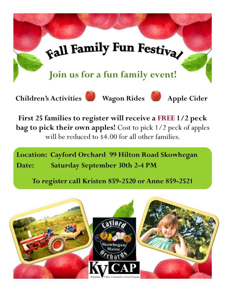 fall family fun festival in skowhegan flyer