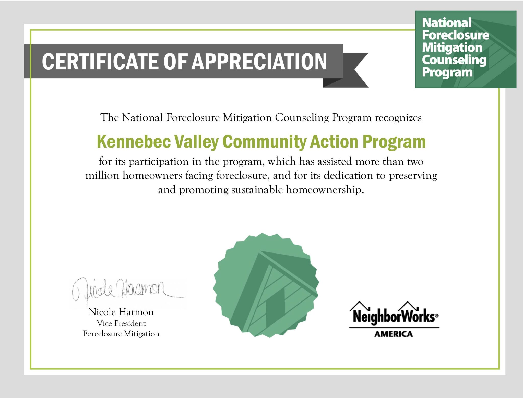 certificate of appreciation from neighborworks america to kvcap