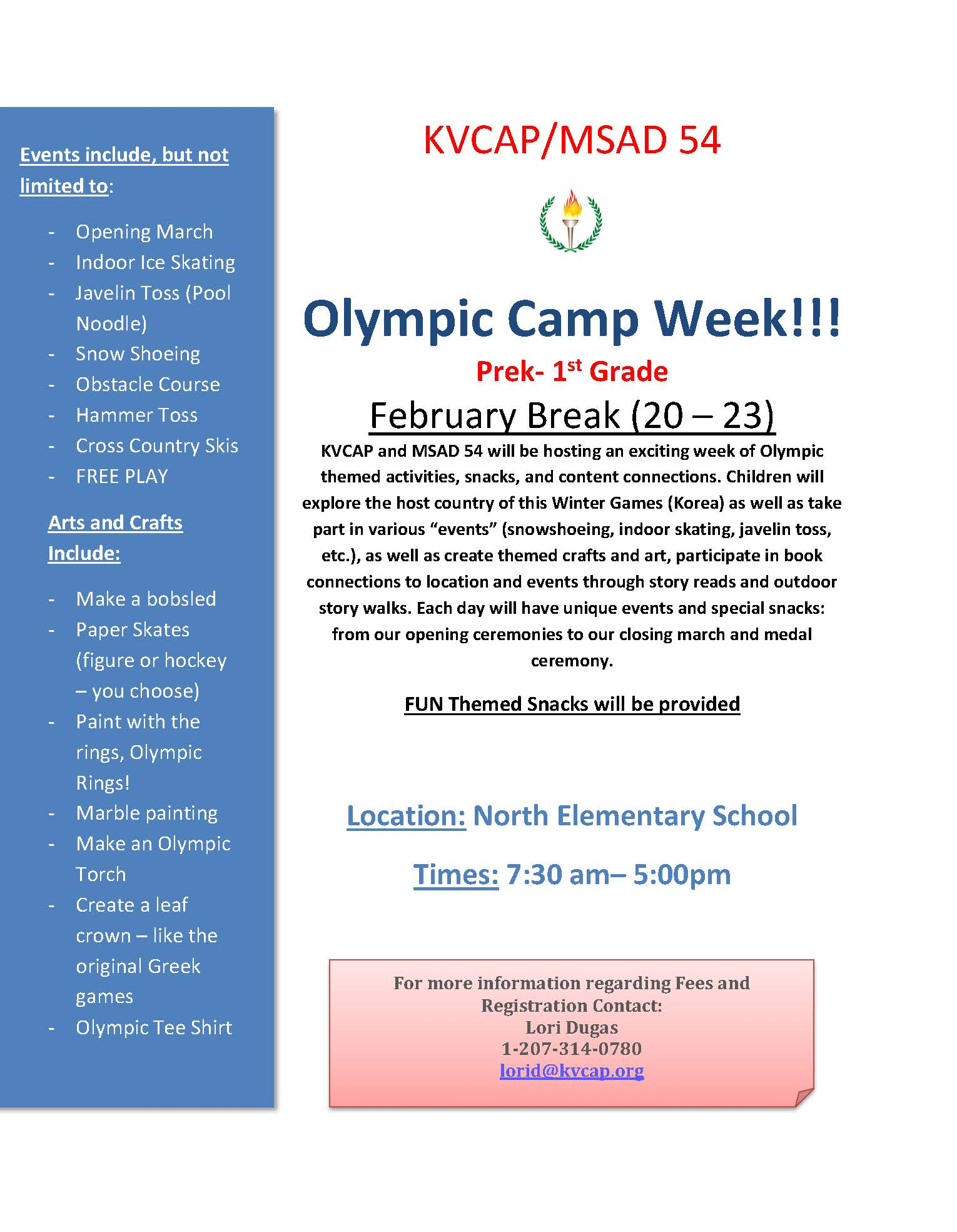 olympic camp week flyer