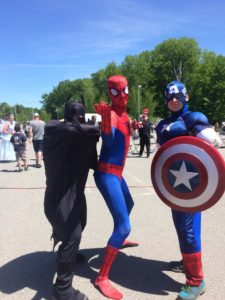 batman spiderman and captain America at 3rd annual community celebration